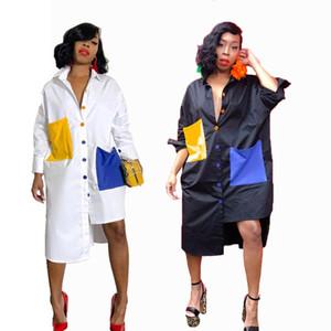 Les femmes s'habillent nouvelle automne hiver vêtements personnalisés vente chaude contraste couleur couture bouton ourlet irrégulier chemise robes chemise blanche revers