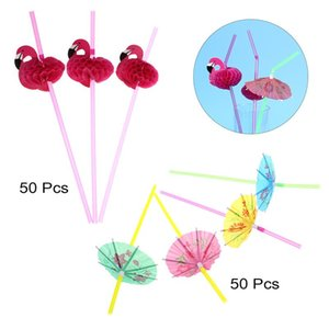 100pcs Flamingo Paper Drinking Straws Wedding Decoration Baby Shower Birthday Celebration Hawaii Carnival Party Supplies