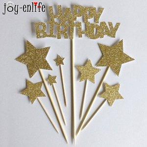 JOY-ENLIFE 1set 반짝이 생일 축하연 Topper Kids 생일 파티 베이비 샤워 Decoraton Cake Topper Cake 액세서리
