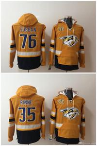 Nashville Predators 76 PK Subban 35 Pekka Rinne 하키 저지 까마귀 풀오버 스웨터 겨울 자켓 최고 품질! 100 % 스티치