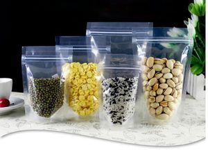 24 * 35 + 5cm de grande taille réutilisable Stand Up haute sacs en plastique transparent clair Pouches auto-étanches Sacs Zipper