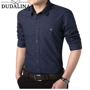Dudalina camisa masculina 2018 manga larga hombres camisa de lunares Casual alta calidad camisa de hombre de negocios adelgaza vestido de diseñador