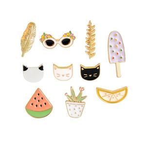Cat Melancia Laranja Ice Cream Folha Sunglasses Planta Broche do botão pinos Denim Jacket Pin do emblema dos desenhos animados Bijuterias presente