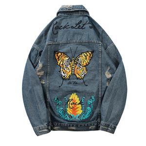 Kelebek Baskılı Delik Yırtık Delik Ceketler Erkek Moda Rahat Sıkıntılı Denim Kot Ceket Streetwear Erkek