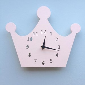Creative Wooden Crown Clock Wall Decoration Clock For Children's Room Living Room Wall Cartoon Decor Christmas Present