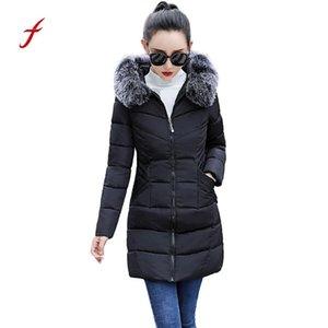 wholesale 2018 New Women Coat harajuku Winter Warm Coat Faux Fur Hooded Thick Warm Slim Jackets Long Overcoat manteau femme hiver