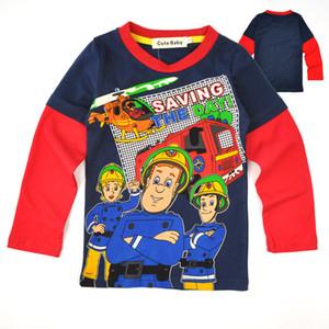 AiLe Rabbit New fashion baby boy cartoon fireman manga larga camisa de algodón baby boy ropa
