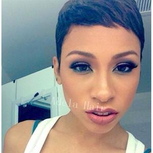 Очень короткие парики человеческих волос для чернокожих женщин Pixie cutl бразильские парики человеческих волос ни один шнурок guleless полный шнурок человеческих волос парики