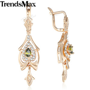 Venta al por mayor Teardrop Olivine Green CZ Chandelier Dangle los pendientes para las mujeres 585 Rose Gold Filled Paved Clear Cubic Zirconia KGE109