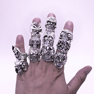 Free Shipping Mixed10pcs Top-quality Gothic Punk Assorted Wholesale Lots Skull Style Bikers Men's Vintage Tibetan Silver Rings