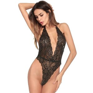 2018 new European and American brand adult sexy lingerie ladies pajamas solid color sexy Halter bodysuit lace lingerirs