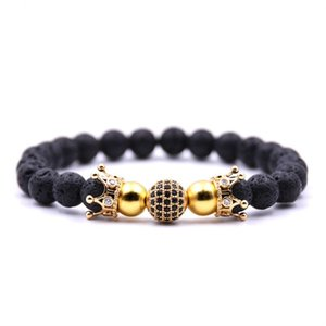 New Fashion Natural Stone Luxury Shambala Crown Beads Bracelet Yoga Bracelet For Men&Women Handmade Jewelry Pulsera Accessories