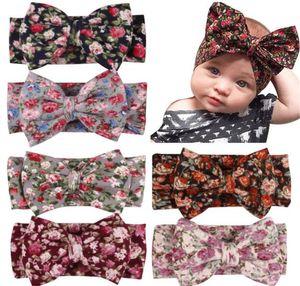 Headbands Bow hairs Vintge Hair Head Band Baby girl sweet Elastic knit cotton baby hair accessories Y177