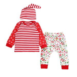 Trajes de Navidad para bebés Recién nacido Bebé Niña Niño Ropa Algodón A rayas Camiseta Tops Pantalones Sombrero 3PCS Infant Toddler Clothing Set traje de Navidad
