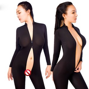 DaiDaiLuna Mulheres Nylon Sexy Bodysuit Estiramento Justas Dupla Cabeça Zipper Sexy Lingerie Virilha Aberta Sexy Trajes