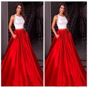 Vintage African Girl Two Pieces Halter Red Evening Dress Elegant Sleeveless A-Line Pocket Party Prom Dress Free Shipping