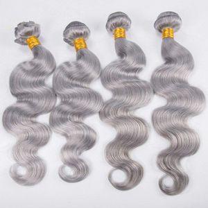 Body Wave Bundles Virgin Silver Grey Armadura del cabello El cabello gris teje 100% humano Trama del cabello virgen para mujeres negras
