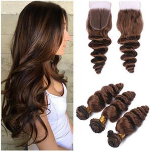 Onda allentata Virgin Indian Chocolate Brown capelli umani con chiusura # 4 Dark Brown Virgin Hair 3 offerte Bundle con 4x4 chiusura pizzo
