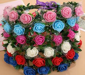 Wedding bridal girl head flower crown rattan garland Hawaii flower head wreath bohemian Headbands Hair Jewelry