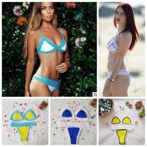 Swimwear Mão-tecido Crochet Biquíni Mulheres De Malha Sexy Swimsuit Conjuntos de Biquíni de Verão Moda Trajes de Banho Tankini Beachwear Bras Calcinhas B4094
