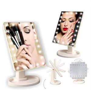 Make Up LED Mirror 360 Degree Pantalla táctil de rotación Make Up Cosmetic plegable Portable Pocket compacto con 22 LED Light Makeup Mirror