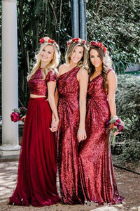 Sparkle Burgundy Sequined Bridesmaid Dresses Long Bridesmaids Dress Country Style Wedding Guest Gowns Custom Made Prom Dress
