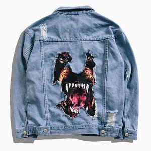 2018 Denim Jacket Men Hip Hop Streetwear Dog Head Printing Cowboy Ripped Distressed Jean Jacket Men Women  Casual Jacket
