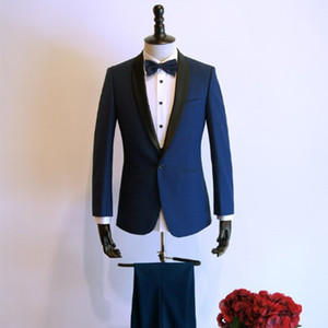Navy Mens Suits for Wedding Tuxedos Two Piece Black Shawl Lapel Trim Fit One Button Groom Tuxedos Jacket Pants WH002