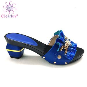 New Arrival Royal Blue Italian Ladies Sexy High Heels Pumps Rhinestones Latest Design Ladies Pumps African Sandal Shoe for Party