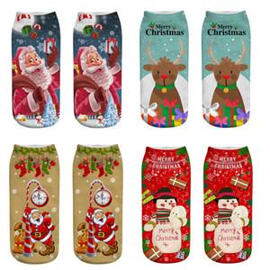 Chaussettes de Noël pour femmes Cartoon Elk Bonhomme de neige Chaussettes Santa Low Cheville Cut 3D Chaussettes de coton imprimées Calcetines Mujer