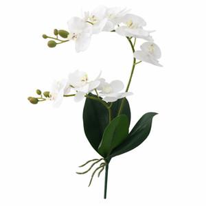 60cm Fiore artificiale Real Touch Latex 2 Ramo Fiori di orchidea con foglie Decorazione floreale Flores