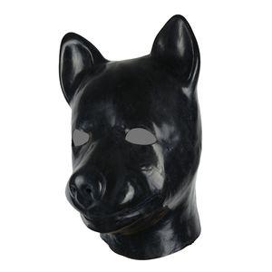Molde 3D máscara de perro cabeza de látex completo capucha de goma unisex fetiche látex perro BDSM esclava capucha sexy