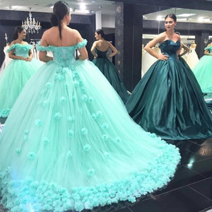 2019 Mint Green Quinceanera Dress Princess Off Shoulders Backless Sweet 16 Ages Long Girls Prom Party Pageant Gown Plus Size Custom Made