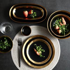 Hecho a mano contemporáneo de rizado Diseño con borde de oro de vajillas de cerámica creativos platos de servir la cena disco de ensalada cuencos Negro Blanco