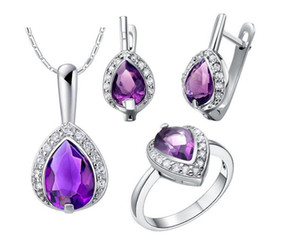 2018 New CZ Jewelry set fashion women Platinum plating purple drop Crystal pendent necklace earrings ring set female accessory 1 set