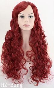 Peruk Uzun Dalgalı Kostüm Partisi Cosplay Peruk Koyu Kırmızı beyaz siyah 70 Cm Sentetik Saç Peruk