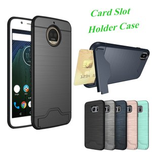 For Google Pixel Galaxy S9 S9 Plus iPhone X iPhone Shell Hard Armor Case Cover with Stand Card Slot Holder