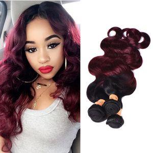 Ombre бразильские девственные волосы плетет пучки два тона 1B/99J вино красный бразильский перуанский малайзийский волна тела человеческих волос
