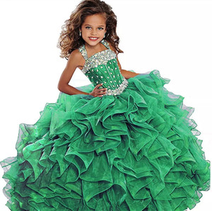 2018 Vert Émeraude Filles Pageant Robe Robe De Bal Longue Turquoise Organza Cristaux À Volants Fleur Filles D'anniversaire Robes De Soirée Pour Junior