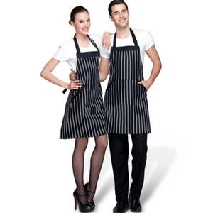 Saingace Siyah Şerit Önlük Polyester Önlük Önlük 2 Cepler Ile Şef Mutfak Cook Mutfak Pişirme Önlükleri Erkekler / Kadınlar için