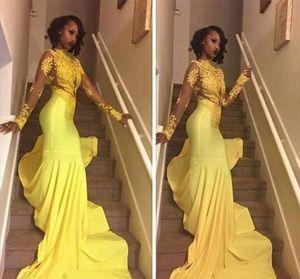 옐로우 레이스는 아프리카 prom 복장 인어 긴 소매 저녁 파티 가운 사용자 정의 플러스 크기 파티 가운을 Appliqued