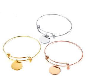 Золото / серебро / розовое золото из нержавеющей стали мода проволока ссылка цепи браслет манжеты браслет круглые медали подвески браслет женщины мужчины хорошие подарки