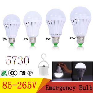 E27 비상 LED 전구 AC85-265V 5W 7W 9W 12W SMD 5730 지능형 LED 충전식 비상 조명