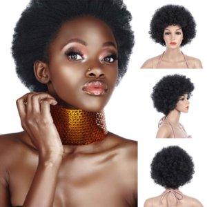Afro Peruk Kısa Sentetik Bob Saç Ucuz Yan Bang Kimyasal Headgear Boyalı Kısmi Fiber Kafa Setleri Afrika Küçük Rulo