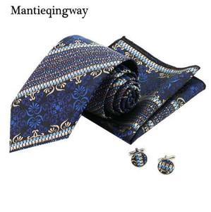 Mantieqingway Groom Cufflink 8.5cm Neck Tie Set للرجال منديل طباعة أزرار أكمام التعادل مجموعة لرجال الأعمال يؤرخ