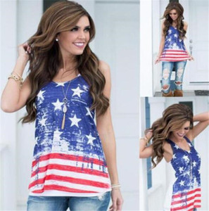 Kadınlar Amerikan Bayrağı Gevşek Temmuz 4th kısa kolsuz Tişört Bluz yelek M197 Tops