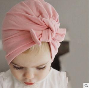 Sıcak Satış 10colors Pamuk Bebek Şapka Bow Beanie Fotoğrafçılık Şapka Karikatür Düğümlü Bunny Kulak Hat Fedora şapkalar Kız Erkek Hint Bohemia Caps