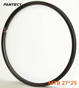 Envío libre MTB 27.5er ruedas de carbono freno de disco 27 mm de ancho 25 mm de profundidad XC bicicleta de montaña de carbono sin cámara borde super ligero