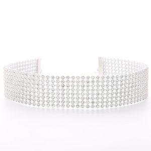 Gargantilla Collar Collares Elegante Ancho Rhinestone Chocker Declaración Joyería Pavimentar Cristal Rhinestones Gargantilla Collar