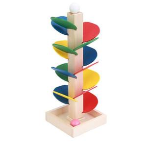 어린이위한 나무 장난감 다채로운 빌딩 블록 나무 대리석 공 실행 트랙 베이비 어린이 게임 나무 장난감
